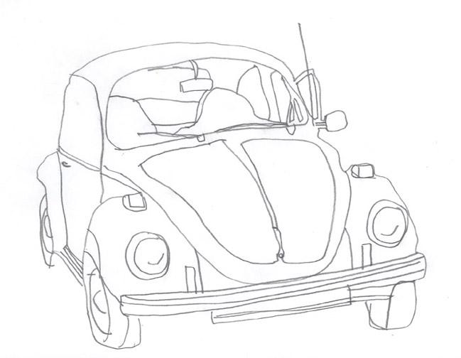Volkswagen Line Drawing 1970 Volkswagen Super Beetle